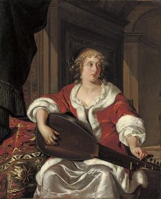 "Eglon Hendrick van der Neer (Dutch, c. A lady tuning a ""Luth… Caravaggio, Dutch Golden Age, Academic Art, Dutch Painters, Old Master, Ballet, Art Music, 17th Century, Traditional Art"