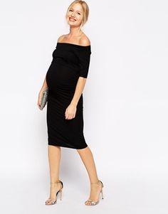 Agrandir ASOS Maternité - Robe à encolure Bardot et manches mi-longues
