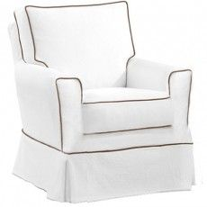 Kate Swivel Glider - in off-white linen with same color piping