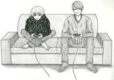 Kaneki and Tsukiyama - Gaming by Slenderhand