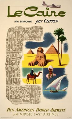"""Pan American Air Lines Travel Poster Le Caire 8 1 2"""" x 11 
