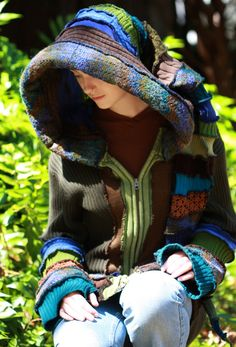 Custom Made to Order Recycled Sweater Coat Hoodie.  Guy .Unisex Elf  Large Hippie Grateful Dead Furthur  Kaleidoscope Forest festival on Etsy, $250.00