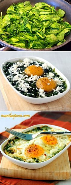 Baked Spinach & Eggs