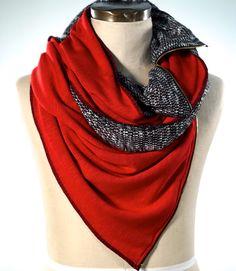 Scarf shawl-Rosette triangle soft neck wrap fine knit-pink-brown-cream-29