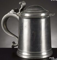 Pook & Pook 1/15/16 Lot: 190.  Estimated: $5,000 - $10,000.  Realized Price: $4,560.  Description: New York pewter tankard, ca. 1780, bearing the touch of William Kirby, 7'' h. Provenance: The Estate of Bernard B. Hillmann, Wyckoff, New Jersey.  Condition: Good condition. No apparent damages or repairs.