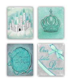 Prince Royal Nursery, Children's Wall Art, Castle Nursery Decor, Little Prince Crown, Baby Boy Nursery, SET 4 Art Prints, Tiffany Blue Grey