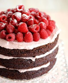 Naked Chocolate Cake with Raspberry Buttercream | recipes by Add a Pinch & My Baking Addiction via Styling My Everyday