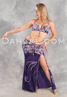 $224.95 TAHIYAH in Purple, Black and Gold by Designer Sultan's Secret, Egyptian Belly Dance Costume www.dahlal.com