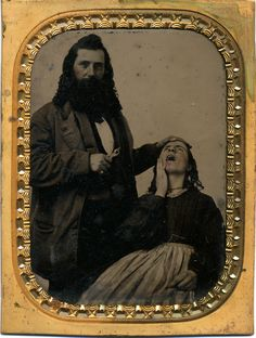 ca. 1860-80s, [hand-tinted tintype portrait of a proud dentist with a pulled tooth of his bloodied patient].