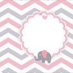 Tag Agradecimento Etiqueta Kit Festa Elefantinho Rosa e Cinza Chevron