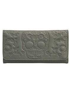Embossed Sugar Skull Fashion Wallet by Loungefly (Grey) #InkedShop