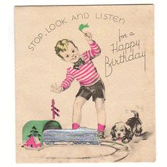 Vintage Children's Birthday Card Little Boy with Puppy and Silver Foiled Train and Track Unused
