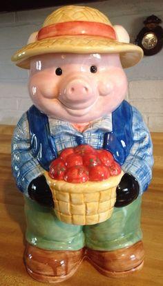 """RARE Vintage Treasure Craft """"Oink Farms Farmer Pig"""" Large Cookie Jar"""