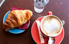 A typical French breakfast-croissants