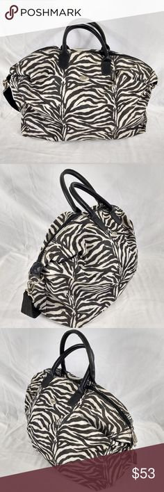 """DIANE VON FURSTENBURG ZEBRA PRINT LARGE BAG VTG DVF Bag.  Zebra Animal print bag.  Very high quality bag.  This bag is VTG and does display some wear.  The inside is very clean.  The outside is clean as well but does have patina and areas of some tannish discoloration.  Overall the bag is in good shape and exhibits no damage, just some signs of use, see photos.  MEASURES:  21""""  X 15""""  X 15"""" with a handle drop of 6"""".  Poshmark Bin # 3 Diane von Furstenberg Bags Travel Bags"""