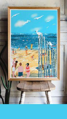 Paris Illustration, Digital Illustration, Wall Art Decor, Room Decor, Flat Interior, Beach Posters, Hotel Decor, Beach Wall Art, French Art