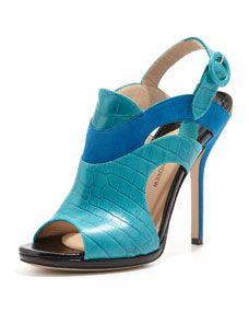 Paul Andrew Ocean Peep-Toe Leather Bootie, Blue/Black