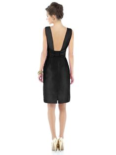 Alfred Sung Style D523    Fabric: Peau De Soie purchase swatch  Sleeveless cocktail length peau de soie dress with large flat bow detail at low back. Natural waist. Pleated slim skirt has pockets at side seams. Available in sizes 00-30W.    Dress Colors: viewing - black