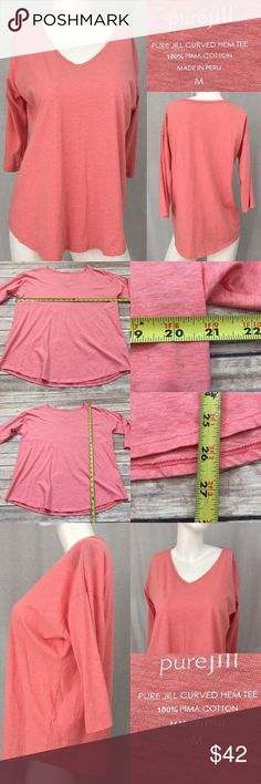 🍭Size Medium Pure Jill Curved Hem Tee V-neck Top Measurements are in photos. Normal wash wear, no flaws. E2  I do not comment to my buyers after purchases, do to their privacy. If you would like any reassurance after your purchase that I did receive your order, please feel free to comment on the listing and I will promptly respond. I ship everyday and I always package safely. Thanks! J. Jill Tops