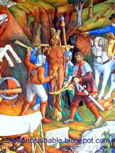 """El mural de Juan O'Gorman en la Biblioteca Gertrudis Bocanegra en Pátzcuaro, Michoacán. """"Tangáxoan II último monarca de los indios Purépecha fue torturado y asesinado por las feroces hordas conducidas por el sádico-vil Nuño de Guzmán""""."""