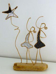 Danseuses étoiles - figurines en ficelle de kraft armé et papiers originaux : Accessoires de maison par ficelleetpapier
