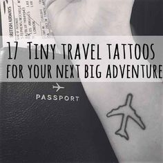 17 Tiny Travel Tattoos For Your Next Big Adventure- like the plane tattoo thin outline tho Tattoo Inc, Ink Tatoo, Get A Tattoo, Piercings, Piercing Tattoo, Small Tattoos, Cool Tattoos, Tatoos, Gun Tattoos