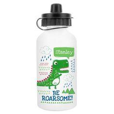 Personalised Drinks Bottle - Be Roarsome Dinosaur
