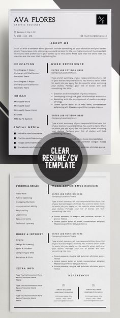 Student Resume Template for Word, 1-3 Page Resume + Cover Letter + - resume formats free download word format
