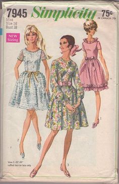 MOMSPatterns Vintage Sewing Patterns - Simplicity 7945 Vintage 60's Sewing Pattern BEAUTIFUL Mod Mad Men Bell Shaped Skirt Fancy Ruffled Lace or Trimmed Party Dress, 3 Styles