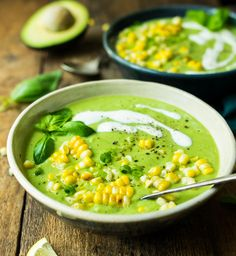 chilled cucumber avocado soup with grilled corn from Reclaiming Yesterday