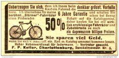 Original-Werbung/Anzeige 1906 - STÜRMER FAHRRÄDER - KELLER CHARLOTTENBURG - ca. 75 X 40 mm