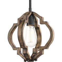 "Progress Lighting P5318 Spicewood Single Light 10"" Pendant with Wood Features Gilded Iron Indoor Lighting Pendants"