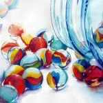 blue jar and marbles