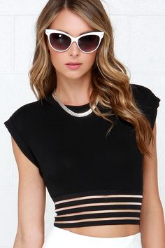 Top of the Lines Black Mesh Crop Top at Lulus.com!