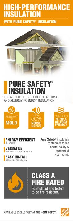 This game-changing, certified asthma and allergy friendly insulation puts your family's health and safety first. Perfect for your home's walls, floors and attic, your home will have reduced dust and be surrounded by high-density, mold and mildew resistant insulation. It also reduces noise by 50% and is Class A fire rated. Click to learn more about Pure Safety high-performance insulation by Owens Corning.
