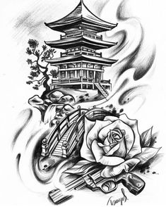 Japanisches Motiv Japan Haus Tempel Tattoo Design Grafik - Kittens Tutorial and Ideas Geisha Tattoo Design, Japan Tattoo Design, Buddha Tattoo Design, Geisha Tattoos, Buddha Tattoos, Tattoo Design Drawings, Tattoo Sleeve Designs, Tattoo Sketches, Geisha Tattoo Sleeve