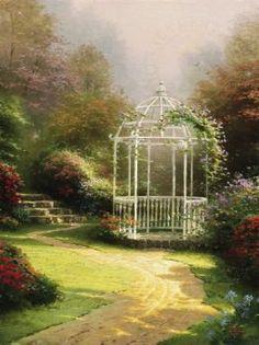 Lilac Gazebo - by Thomas Kinkade (Small) (48 pieces)