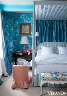 This dreamy bedroom, designed by Miles Redd, brilliantly mixes a variety of blue hues for a monochromatic look