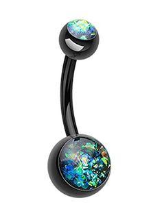 "Colorline Opalescent Glitter Shower Belly Button Ring - 14 GA (1.6mm) - Ball Size: 3/16x5/16"" (5x8mm) - Black - Sold Individually Cosmic - Belly Ring http://www.amazon.com/dp/B00UA2BTXK/ref=cm_sw_r_pi_dp_sJHYvb0MR7JK3"