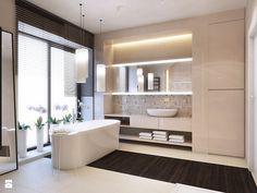 Urocza łazienka, bardzo ciepła. +za zabudowaną szafę, - lustro nie mój typ.
