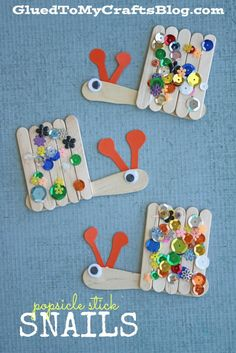 Popsicle Stick Snails - Kid Craft. Featured by Special Learning House. www.speciallearninghouse.com