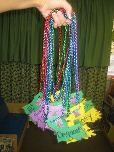 Pre-K nametags for Louisiana/Mardi Gras week