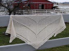 Alpaca Shawl, Hand Knit White Wool Wrap, Triangle Scarf, Alpaca Wrap for Women, Bridal Shawl by NorthStarAlpacas on Etsy