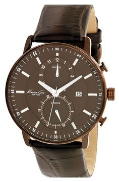 Kenneth Cole New York Round Leather Strap Watch | Nordstrom $165