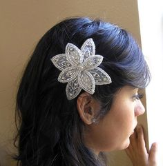 Beaded Applique Hair Clip for Women and Teens Flower Beaded Clip Hair Accessories by Preciosa Couture  Item No. 22. $18.50, via Etsy.    (for bridesmaid)