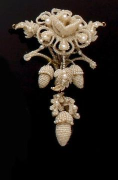 A mid 19th century seed pearl brooch