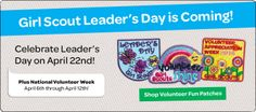 "Girl Scout Leader's Day is April 22. Be sure to say ""Thank You"" to your Girl Scout Volunteer. #VolunteerAppreciation #LeaderAppreciation"
