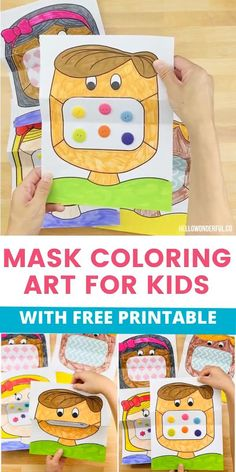 This mask coloring art for kids is a great way to talk to kids about wearing masks and the safety behind why as well as serve as a fun creative activity. Kindergarten Crafts, Preschool Learning, Kindergarten Classroom, Preschool Crafts, Classroom Rules, Flipped Classroom, Classroom Setup, Beginning Of The School Year, New School Year