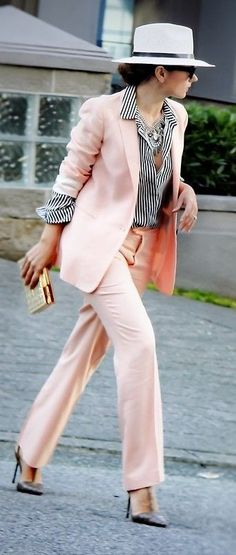 Pink Suit + Striped Shirt                                                                             Source