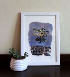 Mary Croccins Childrens Room Art, Fine Art Print by Quirky Art, Whimsical Art, Childrens Wall Art, Terrapin, Room Art, Toad, Limited Edition Prints, Nurseries, Kids Rooms